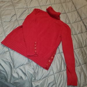 Loft Small Button Sleeved Red Turtleneck Sweater